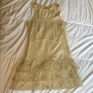 Alice & Olivia lace cream and gold mini dress